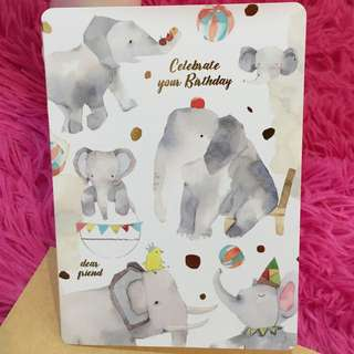 Elephant Birthday Card Greeting Wishes Happy Birthday Friendship Love Circus Party