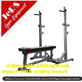 Adjustable Lifting Rack Squat with Bench