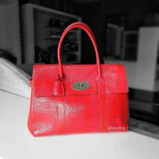 Authentic Mulberry Red Shine Leather Bayswater