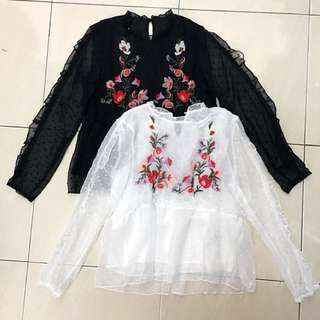 Embroidered Long Sleeve Chiffon Top in White