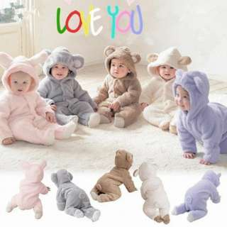 Winter cotton baby romper Long sleeve panda  hooded (PRE ORDER FROM OVERSEA)