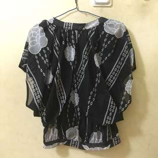 Black Flower Blouse