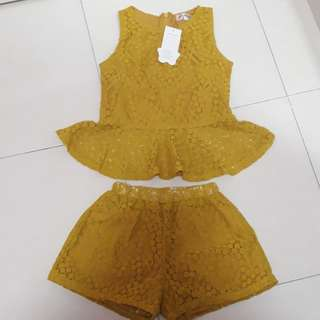 Kids set Lace Peplum with pant