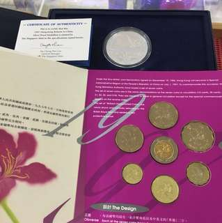 Hong Kong 1997 Return to China Silver Commemorative medal and Coin Set