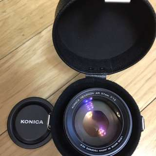 Konica Hexanon AR 57mm 1.2 with original Leather Case