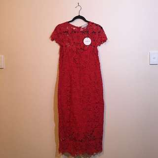 Atmos & Here Red Lace Elegant Dress Size 14 Brand New With Tag