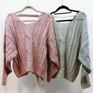 正韓後V領 針織毛衣 針織衫 粉色 (9成新)