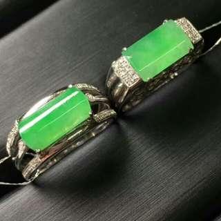 🎋18K White Gold - Grade A 冰糯 Green Saddle/Rectangle Jadeite Jade Man's Ring🎋