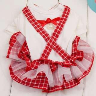 Red Checkered Strap Dress