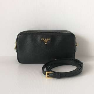 Prada Black Saffiano Mini Double Zip Crossbody Bag