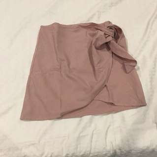 dusty pink wrap skirt