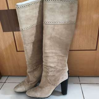 Leather (suede) long boots