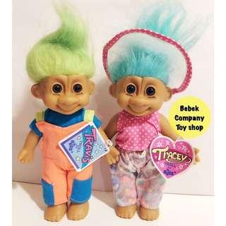 狀況全新 Tracey & Travis Troll Dolls Trolls 醜娃 巨魔娃娃 幸運小子 古董玩具 玩偶