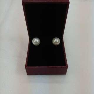 18k白金日本海水珍珠耳環