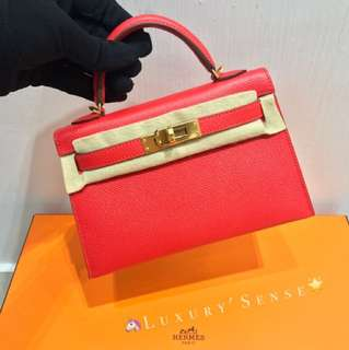 ✨全新 2018買入! 🦄Hermes✨🍅Mini kelly ll Rouge tomate S5 番茄紅 Ghw 金扣 A $99000