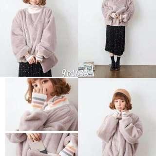 🚚 毛絨絨 淡紫芋頭色縮口高領毛毛上衣