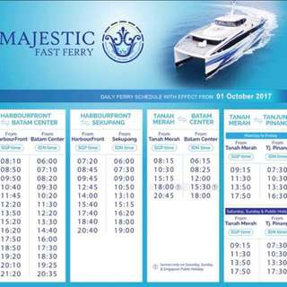 Batam majestic 2 way ferry ticket includes all taxes