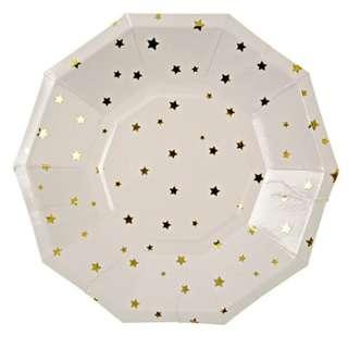 Gold Stars Large Paper Plates 9″ (Set of 8)