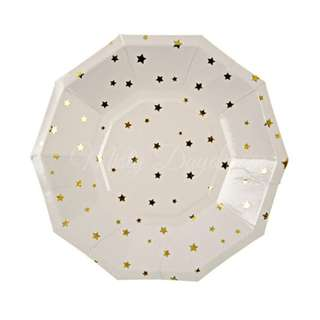 Gold Stars Small Paper Plates 7″ (Set of 8)