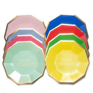 HAPPY BIRTHDAY Small Decagon Plates 7″ (Set of 8)