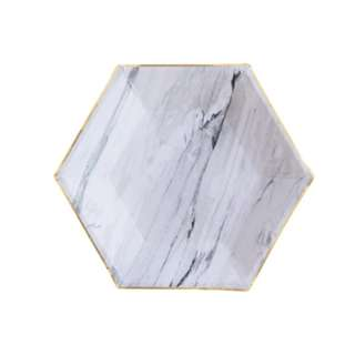 Marble Grey Hexagon Small Plates 7″ (Set of 8)
