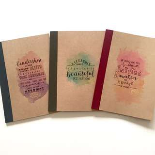 Customised watercolour muji notebooks