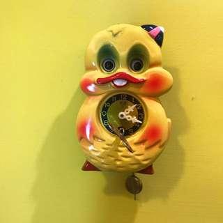 日本製 全新庫存 早期收藏 童趣感 鴨子 眼睛會動 發條 小掛鐘 / 老鐘 / 時鐘