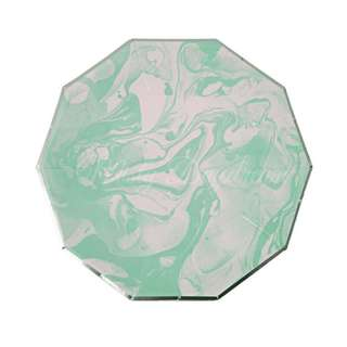 Marble Small Decagon Plates 7″ (Set of 8)- Mint