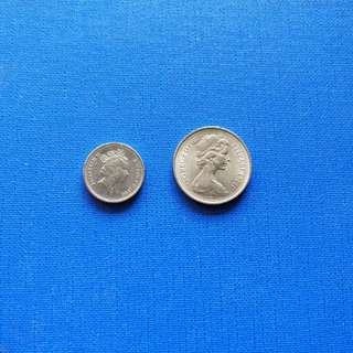 New 5pence big n small size of Queen Elizabeth II