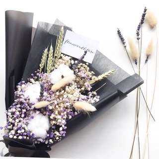 Dried Flower Bouquet Cotton flowers hand bouquet with mixed lavender, coloured baby's breath and other flowers