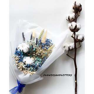 Dried flowers bouquet coloured baby's breath, lavender, cotton flowers hand bouquet