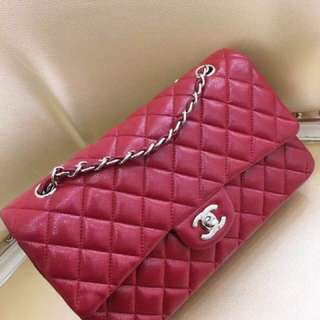 Chanel 草莓紅荔枝牛皮中號Classic Flap