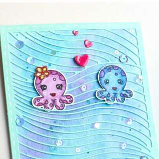 handmade valentines day card, octopus, sea theme,you octopi my thoughts,heart,couple