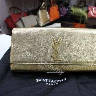 Saint Laurent YSL Gold Metalic Cassandre Clutch