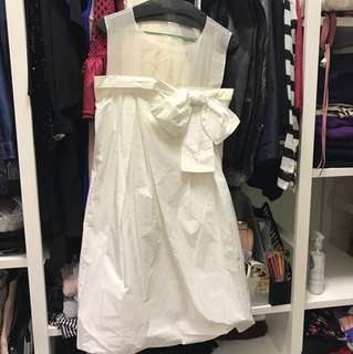 Chloe cream ribbon bow dress