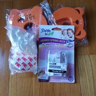 Child proofing corners door stopper and drawer safety catch