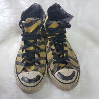 Converse High-Cut Animal Print Smiley Yellow Shoes Sneakers