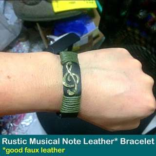 Rustic Musical Note Faux Leather Bracelet [rustic and vintage  charm customised to wrist size easy-hook clasp gifts handmade uncle.anthony uncle anthony uac 2bump]