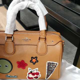 Coach Mini Bennett Satchel Leather Varsity Patches