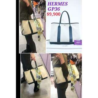 90% New HERMES Garden Party 36 PM Nevy Canvas 深藍色 帆布 購物袋 手挽袋 手袋 Handbag Navy Blue