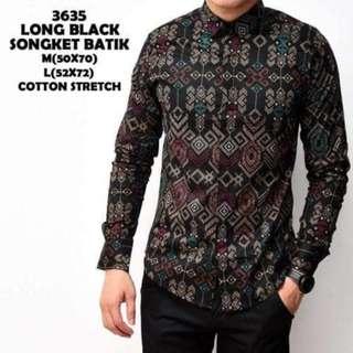 Kemeja Batik Songket Pria Black Panjang Kantor Slimfit Baju Batik
