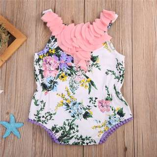 🦁Instock - pink ruffle romper, baby infant toddler girl children glad cute 12345