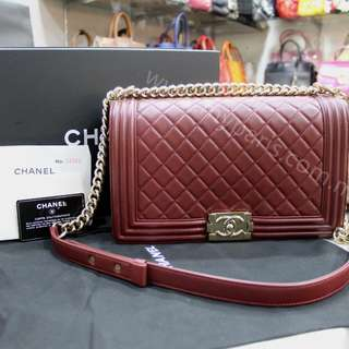 Chanel Burgundy Lambskin Leboy New Medium Flap With Gold Hardware