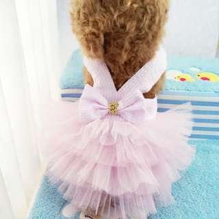 Dog Dress Stripes Bowknot Lace Cake Tutu Skirt