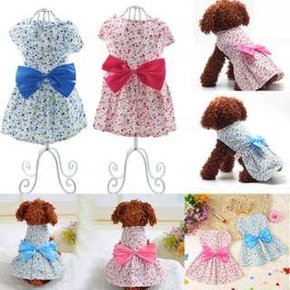 Small Puppy Dog Cat Bowknot Dress Skirt Pet Princess