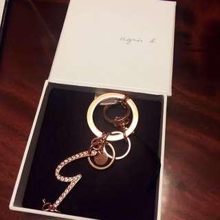 Agnes b. Swarovski Rose Gold Keychain