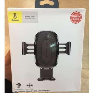 (暫時賣完,可預訂)BASEUS車用Qi無線充電器(重力支架)出風口叉電Wireless Charger (黑色)