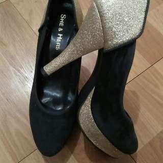 High Heels Hitam Gliter