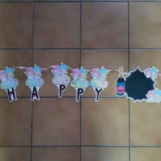 Little twin star happy birthday banner