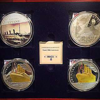 2012 Great Britain RMS Titanic 100th Year Anniversary Commemorative 4-Piece Massive 65mm Medals in Velvet Box-Set
